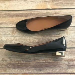 J. CREW Janey Black Patent Leather Round Toe Flats